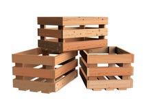 Hoop van houten kratten royalty-vrije stock afbeelding