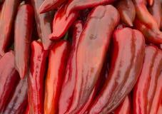 Hoop van Rijpe Grote Spaanse pepers bij een Straatmarkt Een groot aantal Spaanse pepers in een stapel Royalty-vrije Stock Afbeelding