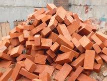 Hoop van rode baksteen stock afbeelding