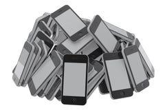 Hoop van smartphones Stock Afbeelding