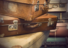 Hoop van uitstekende koffers Royalty-vrije Stock Afbeeldingen