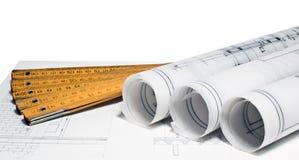 Hoop van van het architectenontwerp en project tekeningen Stock Fotografie