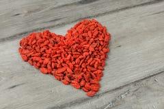 Hoop van wolfberry gojibes - de droge vruchten AR van Lycium chinense stock foto