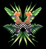 Hoopoe and tropical leaves mirror reflection. Beautiful bird hoopoe with tropical leaves in mirror image. Vector Stock Photos