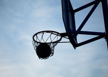 Hoops. Playing in the street basketball royalty free stock photography