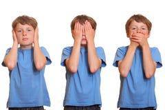 Hoor geen kwaad - zie geen kwaad - geen kwaad spreken Stock Foto's