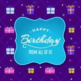 Hooray与礼物盒贺卡的生日快乐 免版税图库摄影
