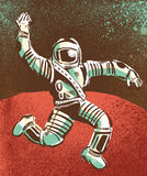 Hooray for Astronauts. Hand drawn 50s style astronaut frolicking on Mars Stock Photo