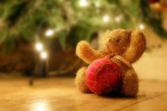 Hooray for Christmas!. A golden teddy bear and a red bauble witha christmas tree in the background Stock Photos