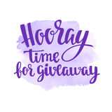 Hooray giveaway. Lettering handwritten for social media contests and special offer. Stock Photography