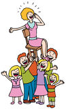 Hooray for Mom. Children lift mother up in a chair Royalty Free Stock Photo