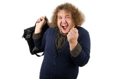 Hooray vacation. Man with the bag. Yes! Holidays. Happy funny man with luggage. Funny fat man. Long curly hair. White background. Isolated Stock Photography