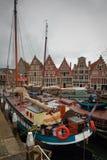 Hoorn, Nederland, 21 April, 2015: Zeilboot in de haven van de stad van Hoorn, Nederland wordt gedokt dat Stock Fotografie