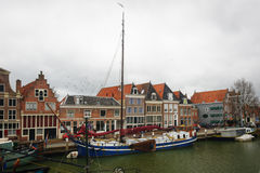 Hoorn, Netherlands: April 15, 2015: Clock tower building in the harbor of the town of Hoorn, Netherl stock image