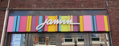 Jamin brand and logo. Hoorn, the Netherlands. April 2019. Jamin brand and logo. Jamin is a shop in the Netherlands that sells candy stock image