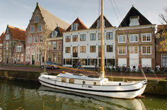 Hoorn. THE NETHERLANDS - OCTOBER 22: Sailing ship at anchor in a navigable channel on October 22, 2013 in , The Netherlands Stock Photography