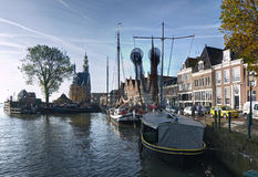 Hoorn. THE NETHERLANDS - OCTOBER 22: Sailing ship at anchor in a navigable channel on October 22, 2013 in , The Netherlands Royalty Free Stock Photo