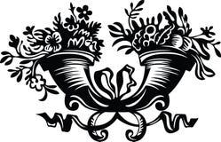 Hoornen die met bloemen worden gevuld vector illustratie