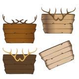 Hoornen en houten teken royalty-vrije illustratie