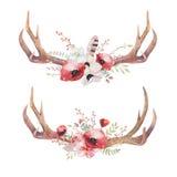 Hoornen van waterverf de Boheemse herten Westelijke zoogdieren Watercolourheup royalty-vrije illustratie