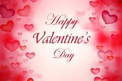 Hoort de van letters voorziende achtergrond van de valentijnskaartendag met Abstract Bokeh-Rood Royalty-vrije Stock Afbeelding