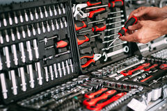 Сhooses wrench tools (screwdriver) in store (shop) Stock Photos