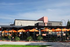Hooters Restaurant in Shoreline Village near the Convention Center. LONG BEACH, CALIFORNIA - JAN 30, 2019: Hooters Restaurant in Shoreline Village near the royalty free stock images