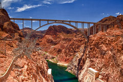 The Hoover Bridge from the Hoover Dam, Nevada - HDR Image Royalty Free Stock Photography