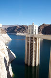 Hoover Dam. Tower. Low levels in the lake Stock Image