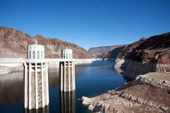 Hoover Dam. Tower. Low levels in the lake Stock Photos