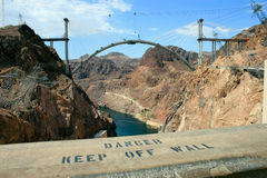 Hoover Dam. Keep Off Wall sign noted at Hoover Dam, huge drop from wall with many past accidents. Supplies water to the entire state of Nevada. Impressive Royalty Free Stock Image