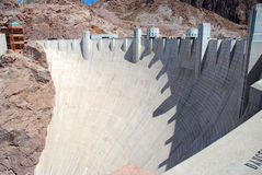 Hoover Dam. White cement Hoover Dam in a sunny day Stock Photo