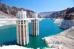 Hoover Dam. White cement Hoover Dam in a sunny day Royalty Free Stock Photo
