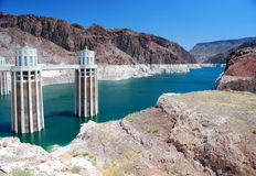 Hoover Dam. White cement Hoover Dam in a sunny day Stock Image