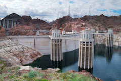 Hoover Dam. Panorama over Colorado River on the boarder between Arizona and Nevada Stock Photos