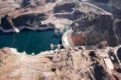 Hoover Dam. Veiw of hoover dam form a helicopter Stock Photos