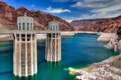Hoover Dam. Decreased water level in Black Canyon of Colorado river near Hoover Dam Royalty Free Stock Photo