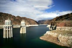 Hoover Dam. Water intake towers at Hoover Dam, Nevada / Arizona border stock photography
