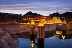 Hoover Dam. Image of Hoover Dam and Hoover Bridge at twilight blue hour Stock Photo