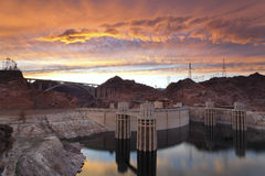 Hoover Dam. Image of Hoover Dam and bridge during dramatic sunset Royalty Free Stock Image