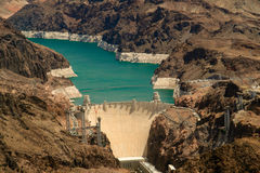Aerial View Hoover Dam stock photo