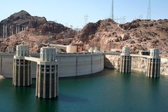 Hoover Dam. On the border between the U.S. states of Arizona and Nevada Stock Photography
