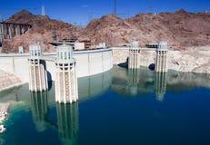 Hoover Dam. Water intake towers at Hoover Dam, Nevada / Arizona border stock image
