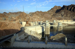 Hoover Dam. A view of the hoover dam. This dam is placed in the border of the US states Arizona and Nevada Stock Photo