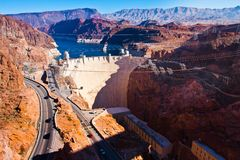 Hoover Dam across the Border of Nevada and Arizona Stock Photos