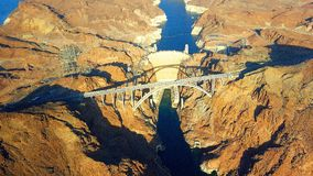Hoover dam. Aerial view of hoover dam Royalty Free Stock Photo