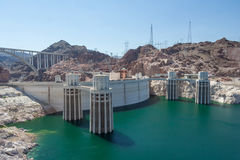 Hoover Dam also known as Boulder Dam, in the Black Canyon of the Colorado River, on the border between Nevada and Arizona,  USA Royalty Free Stock Images