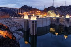 Hoover Dam, seen from Lake Mead stock photo