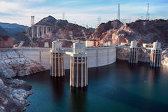 Hoover Dam. In the Black Canyon of the Colorado River, on the border between the U.S. states of Nevada and Arizona Stock Photos