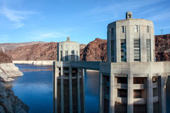 Hoover Dam. In the Black Canyon of the Colorado River, on the border between the U.S. states of Nevada and Arizona Royalty Free Stock Photo
